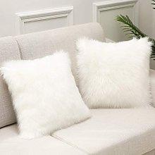 White Faux Fur Cushion Cover Deluxe Decorative