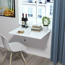 White Floating Wall Mounted Desk Drop-leaf Table