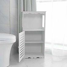 White Floor Free Standing Cabinet, Wood Plastic
