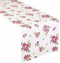 White Floral Print Table Runner Machine Washable