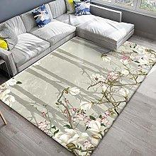 White flower branch Fluffy Rug for the Bedroom,