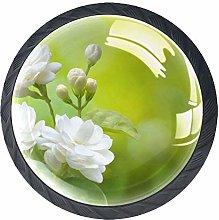 White Flower Crystal Drawer Handles Furniture