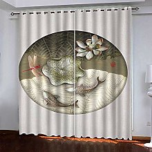 White Flower Fish Thermal Blackout Curtain 234 (W)