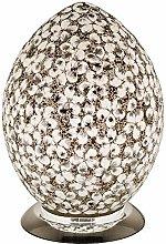 White Flower Mosaic Glass Vintage Egg Table Lamp