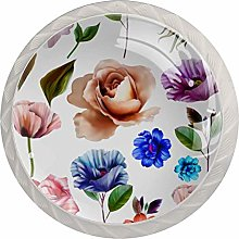 White Flower Pink Leaves 4pcs Glass Cupboard