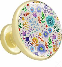 White Flowers 4 Piece Crystal Gold Knobs Round