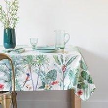 White Foliage Print Cotton Tablecloth 150x250