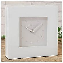 White Glass Square Mantel Clock