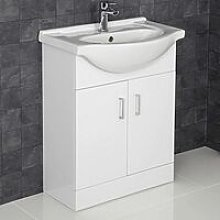 White Gloss Contemporary Bathroom Sink Cabinet -