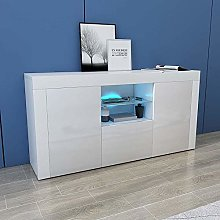 White Gloss Sideboard Living Room Cupboard with