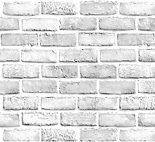 White Gray Brick Wallpaper Grey Self-Adhesive