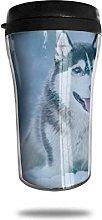 White Gray Siberian Husky Travel Coffee Mug 3D