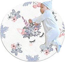 White gray unicorn, Kids Round Rug Polyester Throw