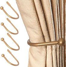 White Hinge 4x Large Gold Curtain Hold Backs Metal