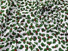 White Holly Christmas Polycotton Fabric (Per Metre)