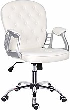White Home Office Chair,Leather Desk Chair with