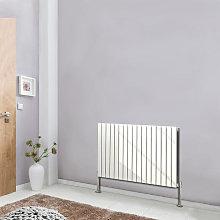 White Horizontal Column Designer Radiator Flat Single Panel 600x1156 Bathroom Central Heating
