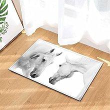 White Horse. Door Mat Front Door Carpet Non-Slip