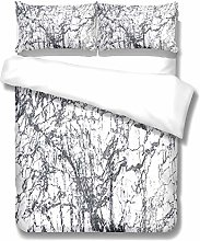White Ink Painting Big Tree Duvet Cover 3-Piece
