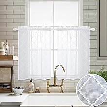 White Kitchen Curtains 36 Inch Length Sets 2 Rod