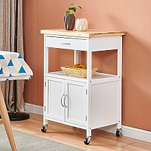 White Kitchen Trolley Island Cart with Bamboo