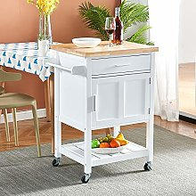 White Kitchen Trolley Island Cart with Wooden