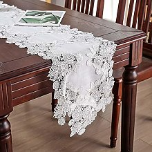 White Lace Cotton Linen Flower Embroidery Table