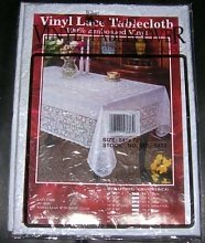 "WHITE LACE EMBOSSED VINYL TABLECLOTH 54"" x"