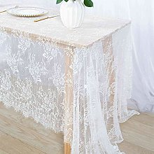 White Lace Tablecloth Rectangular 60x120-Inch
