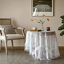 White Lace Tablecloth,Round Embroidered Tulle