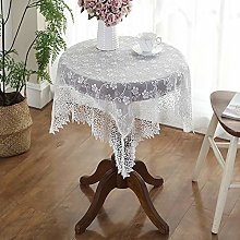 White Lace Tablecloth Vintage Embroidered Lace