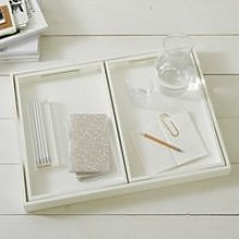 White Lacquer Trays – Set of 3, White, One Size