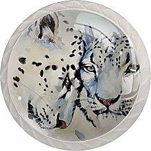 White Leopard 4pcs Glass Cupboard Wardrobe Cabinet