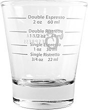 White Lined Espresso Shot Glass Measure for Coffee