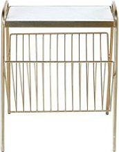 White Marble and Gold Metal Magazine Rack Side