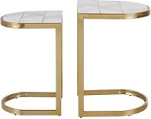 White marble and gold steel side tables