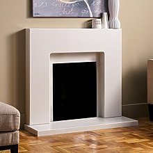 White Marble Stone Curved Modern Wall Surround Gas
