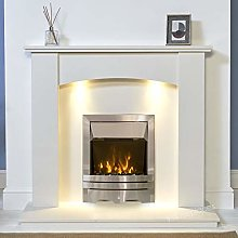 White Marble Stone Modern Curved Surround Electric