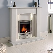 White Marble Stone Modern Curved Wall Surround Gas