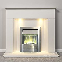 White Marble Stone Modern Wall Fire Surround