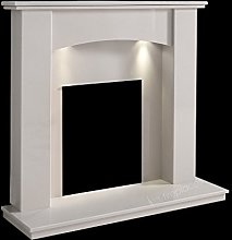 White Marble Stone Surround Modern Electric Wall