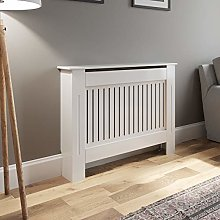 White MDF Radiator Cover Cabinet Vertical Style