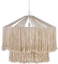 White Metal and Jute Rope Pendant Light