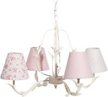 White Metal Chandelier with Pink Patterned Shades