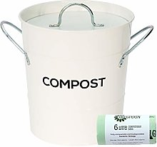 White Metal Kitchen Compost Caddy & 50x All-Green