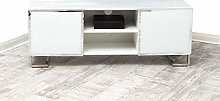 White Mirrored TV Stand Cabinet Unit with Two