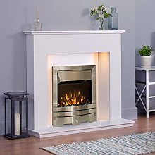 White Modern Marble Stone Fire Surround Electric