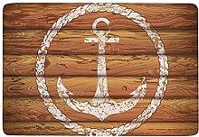 White Nautical Anchor on Yellow Wooden