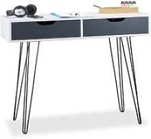 White Office Desk with Drawers, Modern Design,