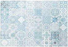 White Outdoor Rug with Blue Cement Tile Print